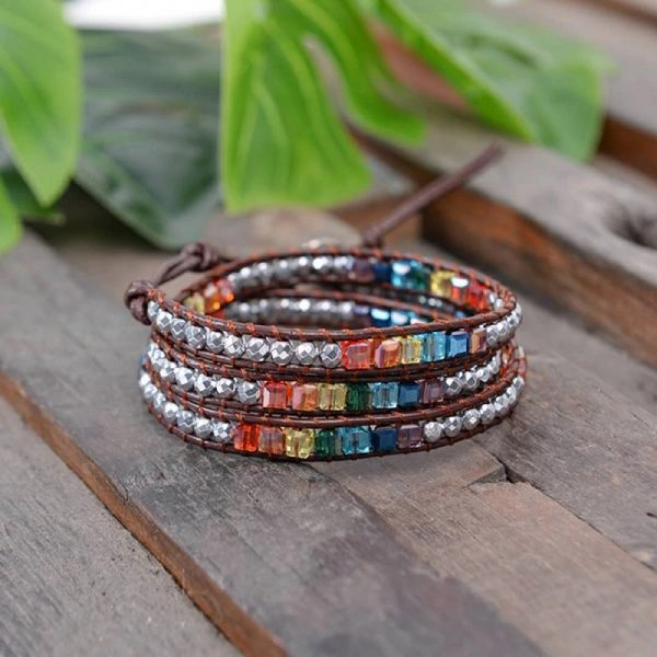 7 Color Crystal Chakra Bracelet on wood