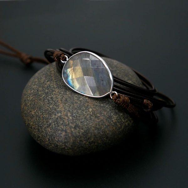 Labradorite Throat Chakra Bracelet on a pebble