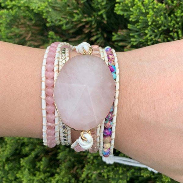 Rose Quartz Heart Chakra Bracelet on hand