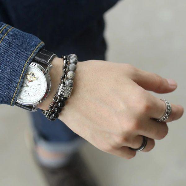 chakra bracelet for men jasper lava hand