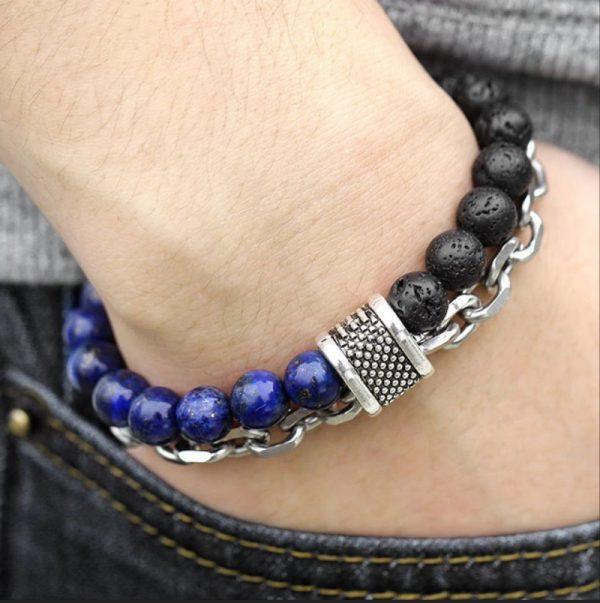 chakra bracelet for men lava lapis hand