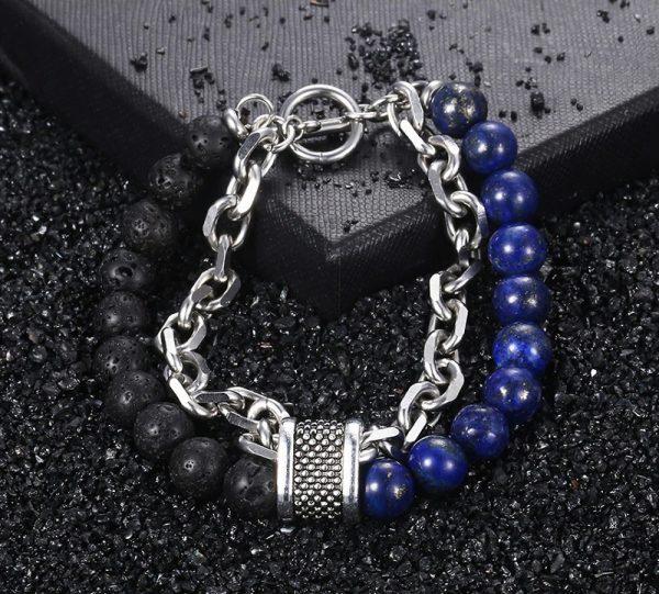 chakra bracelet for men lava lapis photo