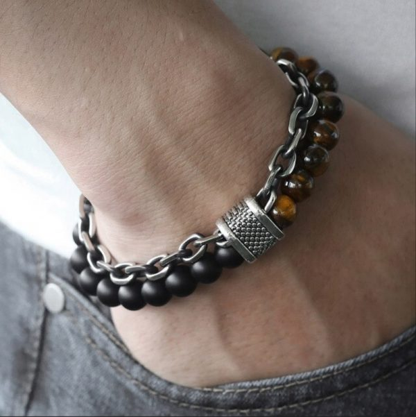 chakra bracelet for men onyx tiger eye hand