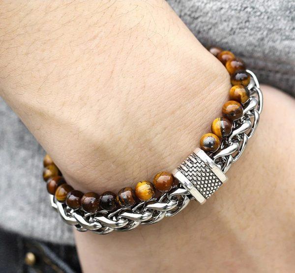 chakra bracelet for men tiger eye hand