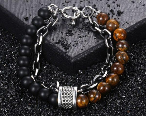 chakra bracelet for men tiger eye onyx photo