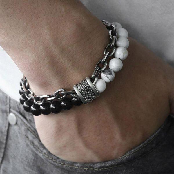 chakra bracelet for men white turquoise